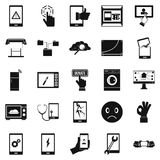 Screen icons set, simple style. Screen icons set. Simple set of 25 screen vector icons for web isolated on white background Stock Photo