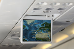 Screen inside an airplane Royalty Free Stock Images