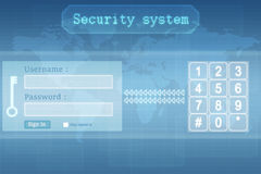 Screen interface login and password with futuristic security system. Hand pushing a button on a touch screen interface Stock Photos