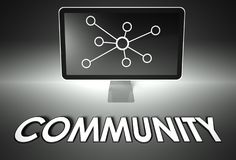 Screen and internet sign with Community, Connection Royalty Free Stock Photos