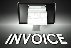 Screen and invoice with Invoice, Tax Stock Photo