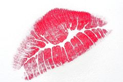 Screen Kiss. Red lipstick kiss on paper royalty free stock image