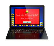 Screen of laptop computer showing alert that the computer was attacked by ransomware Royalty Free Stock Photo