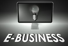 Screen and light bulb with E-business, E-commerce Stock Photography
