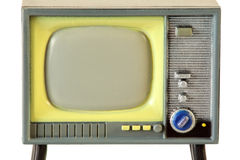 Screen of little retro television isolated Stock Photography