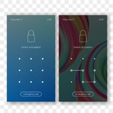 Screen lock with pattern ID unlock vector. Screen lock pattern password background template on smartphone display. Vector screen lock ID recognition with pattern Stock Image