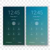 Screen lock smartphone code vector clock display. Screen lock password background template. Vector smartphone ID recognition screenlock password or lockscreen Stock Images