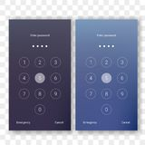 Screen lock unlock password smartphone background. Screen lock authentication password smartphone background template. Vector phone ID recognition screenlock Royalty Free Stock Photos