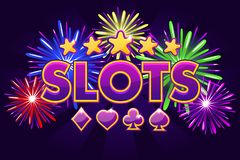 Screen logo slots, banner on violet background with icons, stars and fireworks, background game screensaver. Vector. Casino slots, banner on violet background royalty free illustration