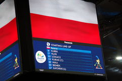Screen at Maracanazinho with names of Polish volleyball players Stock Photos