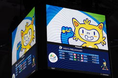 Screen at Maracanazinho during Rio2016 Olympics. Picture taken Aug 11, 2016 Stock Images
