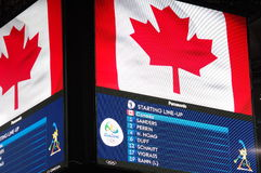 Screen at Maracanazinho during Rio2016 Olympics. Showing Canada men's volleyball players in the match against France. Picture taken Aug 11, 2016 Royalty Free Stock Photo