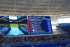 Screen with names of discus throwers. During discus throw finals at Rio2016 Olympics. Photo taken on: Aug 13th, 2016 stock photo