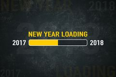 Screen new year loading 2018. Loading bar 2018: new year loading on a dark background Royalty Free Stock Photo