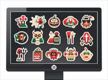 Screen with a nice halloween icons Royalty Free Stock Photography