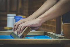 Screen printing equipment and screen printing.  Stock Photos