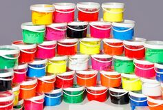 Free Screen-printing Ink In A Variety Of Vibrant Colorsin Clear Plastic Containers Royalty Free Stock Photography - 195833677
