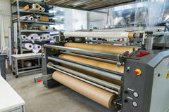Screen Printing Material Rolls Shelf Machine Industrial Professional Workshop stock photography