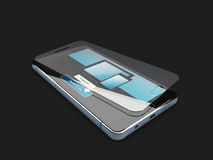 Screen protector film or glass cover isolated on black background. 3d illustration. Screen protector film or glass cover isolated on black background, 3d Royalty Free Stock Images