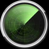 Screen of a radar in green tones Royalty Free Stock Photography