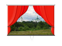 Screen with red curtains and beautiful landscapes Royalty Free Stock Images
