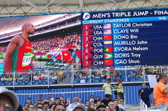 Screen with results of men's triple jump final at Rio2016 Olympics Stock Images