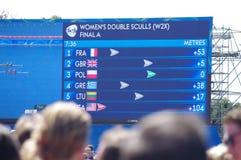 Screen at Rio2016 rowing Royalty Free Stock Photos