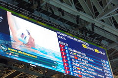 Screen at Rio2016 swimming heats showing Lilly King Stock Photo