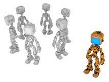 Live Screen Robot, Orange One. Screen robot figure character orange one, 3d illustration, horizontal, isolated royalty free illustration