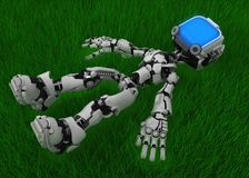 Live Screen Robot, Grass Relax vector illustration