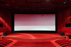 Screen and rows of  chairs in cinema Royalty Free Stock Photography