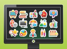 Screen with school icons. On a green background Royalty Free Stock Image