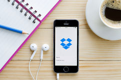 Screen shot of Dropbox application Stock Image
