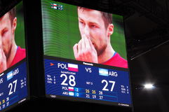 Screen showing 2nd match point for Poland at Rio2016 Royalty Free Stock Photography