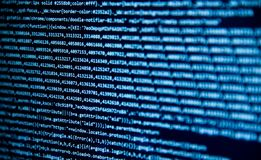 Screen with software developer code. Royalty Free Stock Images