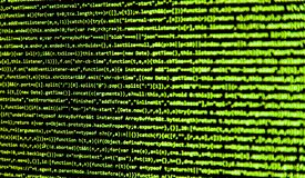 Screen with software developer code. Stock Photography