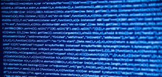 Screen with software developer code. Stock Photo