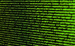 Screen with software developer code. Royalty Free Stock Image
