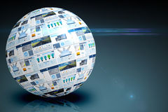 Screen sphere showing business advertisement Stock Photography