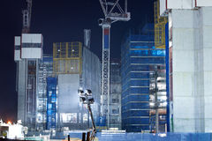Screen system and scaffold at night Royalty Free Stock Photos