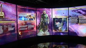 Screen in the Thor room at the Avengers Station complex. LAS VEGAS, NV, USA - SEP 20, 2017: Screen in the Thor room at the Avengers Station complex in Las Vegas Stock Image
