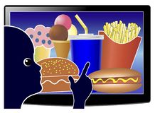 Screen Time affects Junk Food Consumption Stock Photography