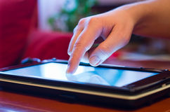 Screen touching on tablet-pc royalty free stock photography