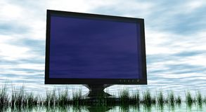 Screen TV on Abstract Scenery. With blue sky and grass foreground Stock Images