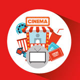 Screen tv movie cinema concept icons Stock Photography