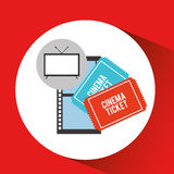 Screen tv movie cinema ticket strip film. Vector illustration eps 10 Stock Images