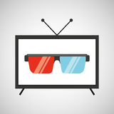 Screen tv movie glasses 3d Stock Photography