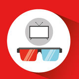 Screen tv movie glasses 3d Royalty Free Stock Photos