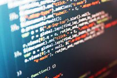 Screen of web developing javascript code. Mobile app building. Screen of web developing javascript code royalty free stock image