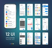 Screen wireframes. Mobile interface app wireframe kit. Ui vector templates. Application ui, weather and clock, email and alarm illustration vector illustration